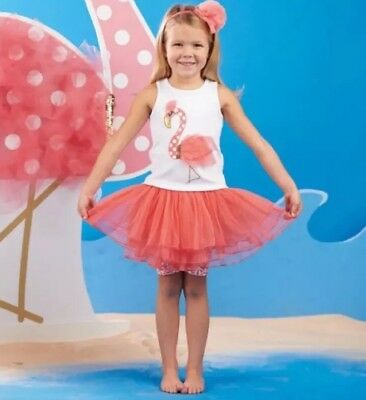 FLAMINGO SKIRT SET Mud Pie Baby Girls Size 9-12 Months Birthday Party Outfit NWT