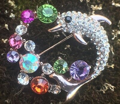 Animal Dolphin Crystal Rhinestone Pin Brooch Gift Tone Women Fashion Jewelry Vtg