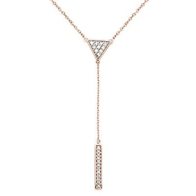 ".17cts G SI 14kt Rose Gold Round Diamond Drop Lariat Pendant Necklace 18"" Long"