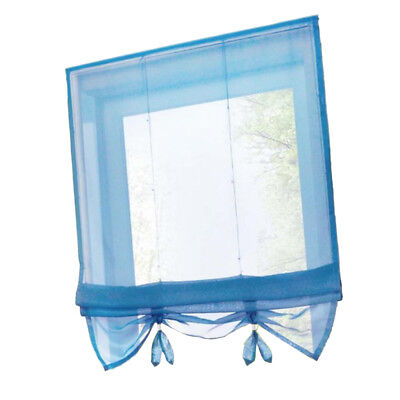 Solid Blue Roman Curtains Sheer Window Shade Blinds (Rod Pocket 100x155cm)