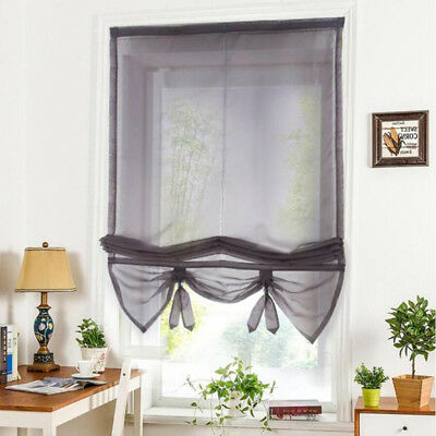 Solid Gray Roman Curtains Sheer Window Shade Blinds (Rod Pocket 100x155cm)