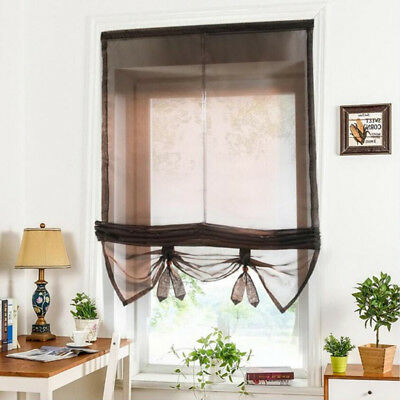 Solid Coffee Roman Curtains Sheer Window Shade Blinds (Rod Pocket 100x155cm)