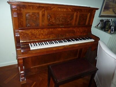 Piano, upright, walnut, v good condition plus piano stool with music - tuned.