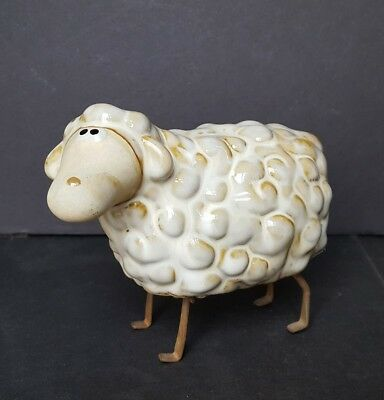 Wallace and Gromet Style Ceramic Sheep with Metal Legs