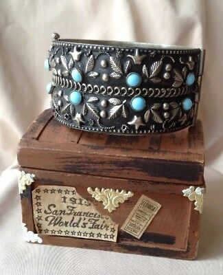 Vintage Silver Asian Chinese Hinged Turquoise Glass Cabochon Cuff Deco Bracelet