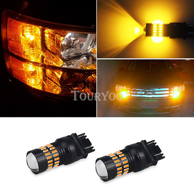 AUXITO 2x 48-SMD 3157 3457A 4157 Super Amber Turn Signal Blinker LED Light Bulbs
