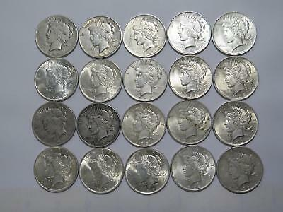 20- Peace Dollars $1 90% Junk Silver Roll U.s. Mint Old Coin Collection Lot #b