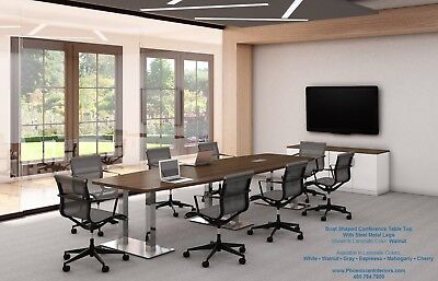 FOOT MODERN Boat Shaped Conference Table With Grommets For Power - 16 ft conference table