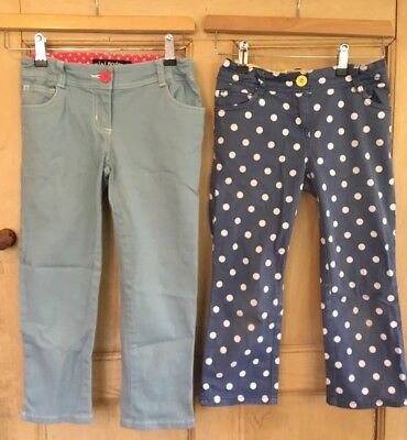 Mini Boden Johnny B Girl 11y Shorts Spotty Blue Cropped 3/4 length Trousers knee