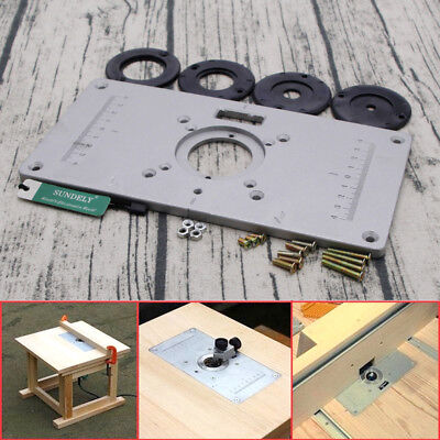 Aluminum router woodworking table insert plate with 4pcs rings set aluminum router table insert plate 2351208mm for woodworking engraving machine keyboard keysfo Image collections