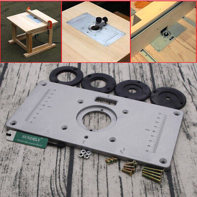 New aluminum router table insert plate 235 x 120 x 8mm with ring for uk 235x120x8mm aluminium alloy plunge router table insert plate ring woodworking greentooth Choice Image