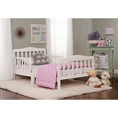 Toddler Bed With Guard Rails Safety Wood Sleigh Boys Girls Kids Furniture White
