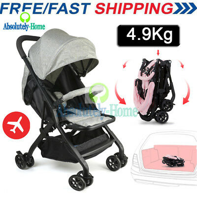 Grey Compact Lightweight Baby Stroller Pram Easy Fold Travel Carry on Plane 2018