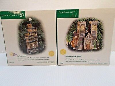 DEPT 56-98775 AND 98759 TIMES TOWER & CATHEDRAL CHURCH OF ST.MARK NEW c