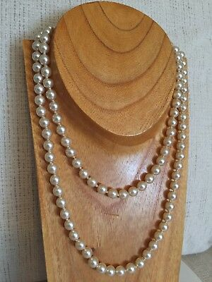 Vintage Retro Beautiful Two Strand champagne Glass Pearls Necklace wedding bride
