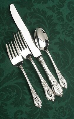 Rose Point by Wallace Sterling Silver - 4 Luncheon SIZE Setting, French Blade