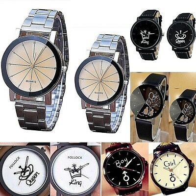 Women Men 1 Pair Couple sets Analog Quartz Wrist watch 2 watches Steel case NEW