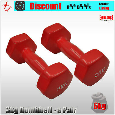 3kg x 2 - Vinyl Cast Iron Dumbbell Hand Weight - Red - Total 6kg