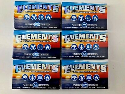 6 x Packs ( Elements 300 1 1/4 1.25 ) Ultra Thin Rice Rolling Paper + Free Gift