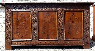 Antique Georgian or earlier oak marquetry & carved COFFER blanket box mule chest