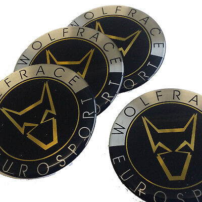 4 x 60mm WOLFRACE EUROSPORT ALLOY WHEEL CENTRE BADGES STICKERS ASIA TEC TRIAD GT