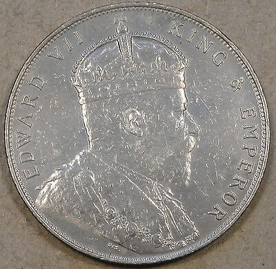 Straits Settlements 1909 Dollar Cleaned AU-Unc as Pictured