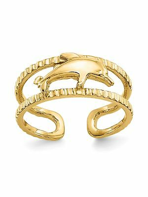 14k Yellow Gold Dolphin Adjustable Toe Ring - 1.48 Grams