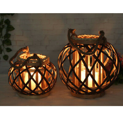 Handheld//Hanging Candlestick Wicker Rope Woven Candle Holder Candle Lantern