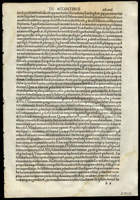 6th Century Priscianus Caesariensis The Opera Latin 1492 Incunable Leaf
