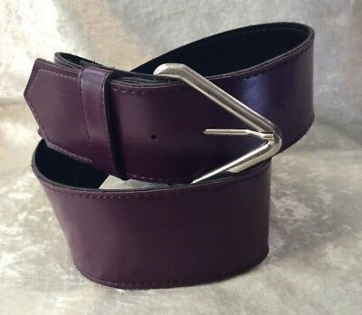 Vintage Retro 1980s Wide Plum Purple Faux Leather Fashion Belt