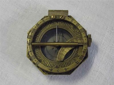 Solid Bronzed Brass Replica  Pocket Sundial Compass With Engraved Detail To Back