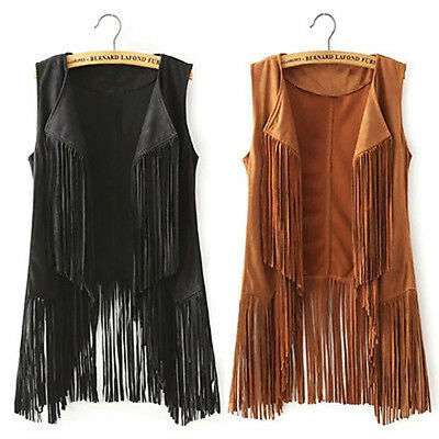 Women New Fringed Jacket Shawl Autumn Waistcoat Tassel Vest Sleeveless Collar