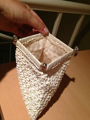 64599f1925e SIMON MR ERNEST Vintage Raffia Beaded Clutch Handbag Purse Cream/Off White