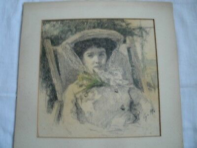 Mounted Art Work : Charcoal & Crayon Drawing.lady With Bonnet .in Deckchair.
