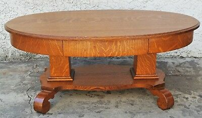 Antique American Tiger OAK SOLID TOP Oval COFFEE TABLE 1890's - 1900's  LA Area