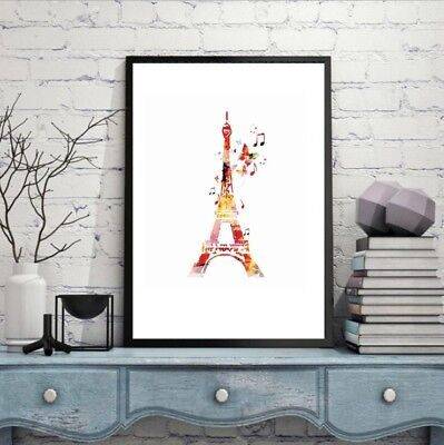 Unframed Eiffel Tower Wall Art Oil Canvas Painting Print Picture Home Room Decor