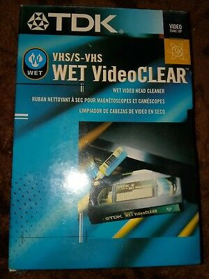 TDK Wet VideoClear Wet VHS Video  VCR Head Cleaner NEW SEALED