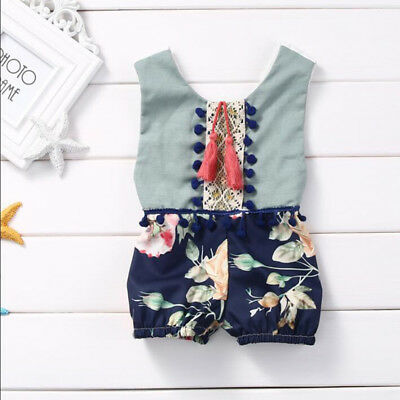 Girls Kids Baby Sleeveless Romper Shorts Jumpsuit Floral Clothes Outfits 0M~36M