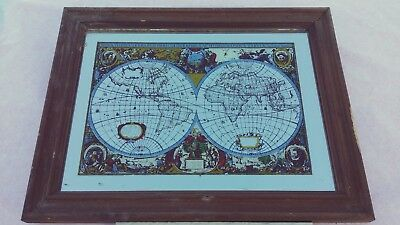Vintage world map framed wall mirror look no reserve 1000 vintage world map framed wall mirror look no reserve gumiabroncs Gallery