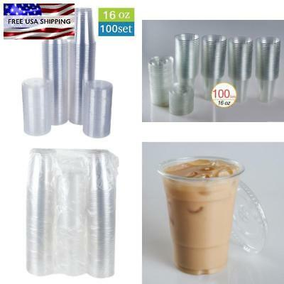 Clear Plastic Cup 16 Oz Drink Cups With Lids Disposable For Birthday Party Sets