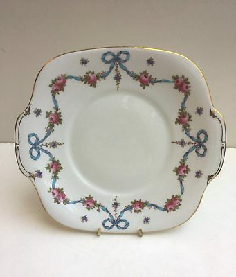 Crown Staffordshire - BLUE BOW - 10 inch Square Cake Plate - circa 1910