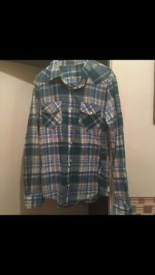 vintage check shirt small green blue grey