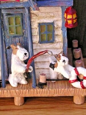Wire Fox Terrier adult & pup LIGHTED FISHING LODGE!