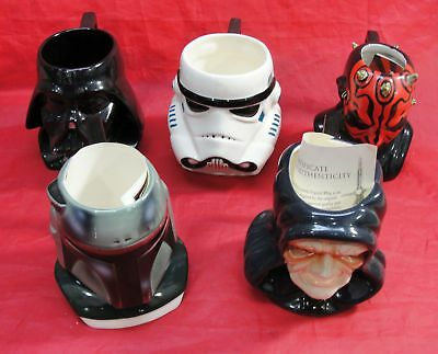 Vtg Lot Of 5 Star Wars Applause Coffee Cups Mugs Lucasfilms Vader Storm Trooper