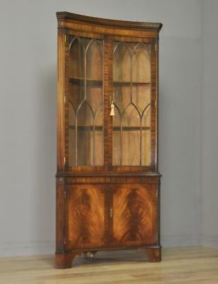 Attractive Vintage Bevan Funnell Reprodux Flame Mahogany Corner Display Cabinet