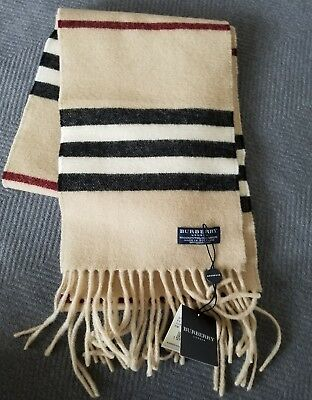 Burberry NEW Authentic Striped long Scarf Wrap Merino Wool/Cashmere UNISEX NWT