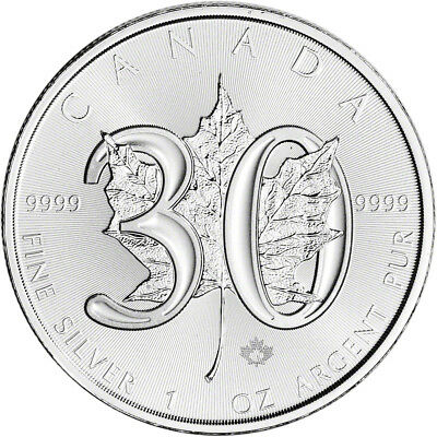 2018 Canada Silver Maple Leaf - 30th Anniversary - 1 oz - $5 - BU