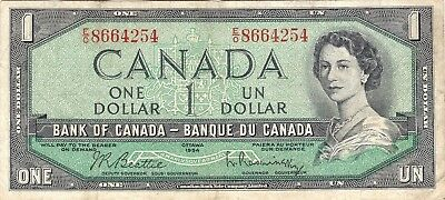 Canada. Canadian Currency, Paper Money, Bank Note 1 Dollar 1954