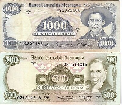 Nicaragua Currency, Paper Money, Two Bank Notes 500 & 1000 Cordobas 1985