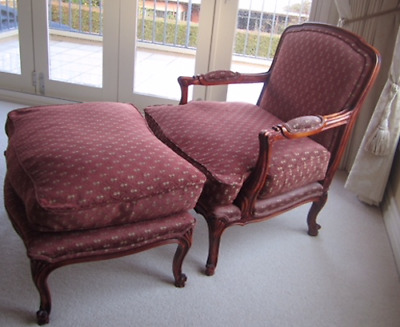 French Provincial Style Armchair and Matching Ottoman (Louis XV replica)